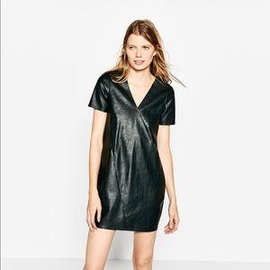 Zara Dark Green Pleather Dress